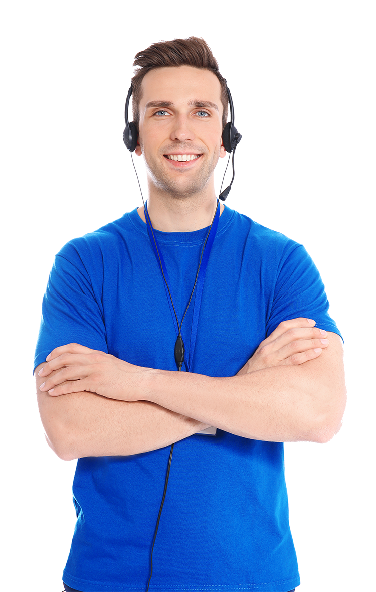 Young man with headset phone on standing with arms crossed